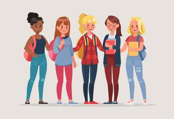 young women student character vector design