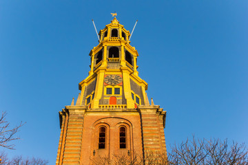 Fototapete - Tower of the A church at sunset in Groningen, Netherlands