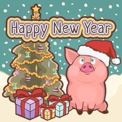 Happy New Year card, poster, banner with a cute funny pig, decorated Christmas tree and gift boxes amid falling snow, vector illustration in retro style, cartoon colorful hand drawing