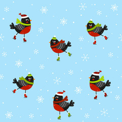 Seamless pattern with cute bullfinches