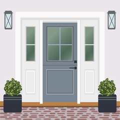 House door front with doorstep and window, lamps, flowers, entry facade building, exterior entrance design illustration vector in flat style