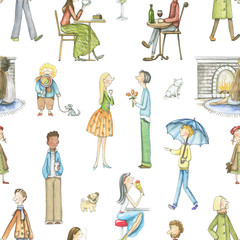 Seamless pattern with cartoon people isolated on white background. Watercolor hand drawn illustration