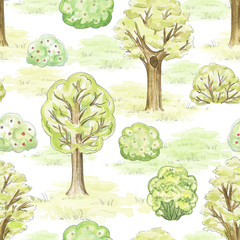 Seamless pattern with trees, bushes and grass in park. Watercolor hand drawn illustration