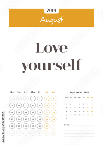 August Calendar 2019 With Quotes And Notes Clean Calendar Template