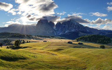 Dolomiti landscape with mountain and sun