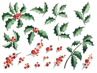 Watercolor set of holly and berries for Christmas decoration