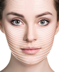 Graphic lines shows facial lifting effect on skin.