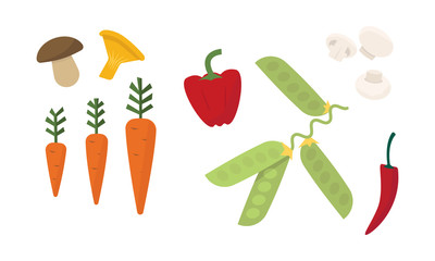 Flat vector set of different vegetables. Fresh mushrooms, ripe carrot, red pepper and green peas. Organic products