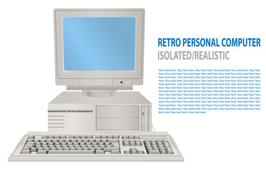 Vector illustration of isolated realistic retro personal computer. 3D Old PC with display, keyboard. Old school computer. Vintage hipster technology. Classic. 80's, 90's. Old obsolete PC design.