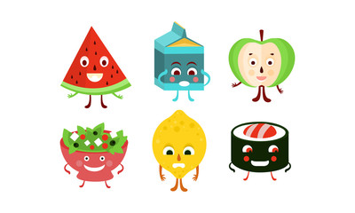 Flat vector set of food and drink characters. Humanized fruits, sushi roll, bowl of salad and pack of milk
