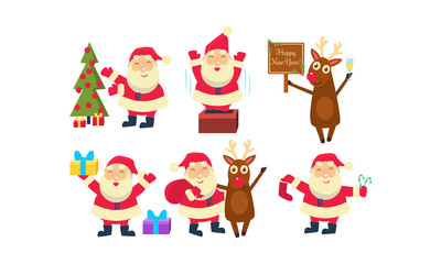 Flat vectoe set of Santa Claus in different actions. Funny reindeer, green fir tree and Christmas gifts