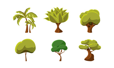 Set of green trees. Natural landscape elements. Flat vector design for mobile game or children book