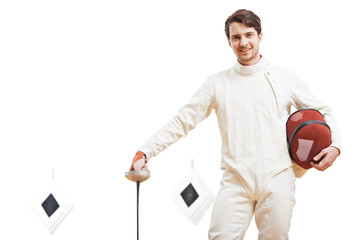 Young male fencer in fencing costume holding the sword and mask. target on background