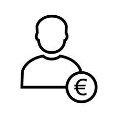 Euro with Man Vector Icon