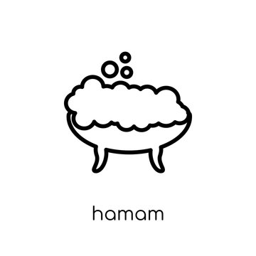 Hamam icon. Trendy modern flat linear vector Hamam icon on white background from thin line sauna collection