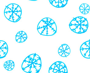 Seamless pattern with bright blue abstract round snowflakes painted in highlighter felt tip pen on clean white background