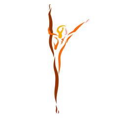 A athlete or dancer raised her leg high, woman