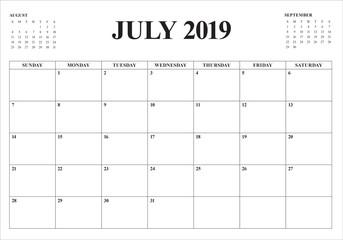 July 2019 desk calendar vector illustration