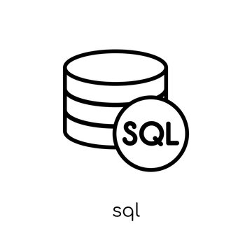 Sql icon. Trendy modern flat linear vector Sql icon on white background from thin line Internet Security and Networking collection