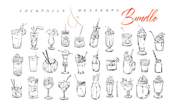 Hand drawn vector graphic textured artistic bar menu ink collection set sketch illustrations drawing bundle of alcohol and sweet desserts cocktails drinks in glass isolated on white background