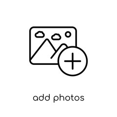 add photos icon. Trendy modern flat linear vector add photos icon on white background from thin line general collection