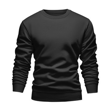 Men's blank mockup black sweatshirt wavy concept with long sleeves isolated white background. Front view empty template pullover. Blank design warm winter clothes sweater for print
