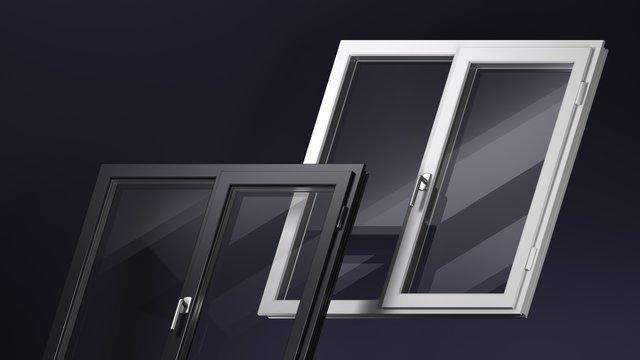 Modern windows white and black