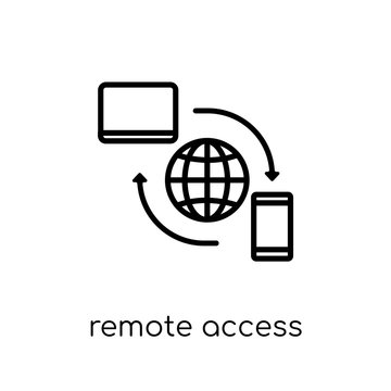 Remote access icon. Trendy modern flat linear vector Remote access icon on white background from thin line Internet Security and Networking collection