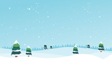 Tuinposter Pool Winter landscape with fir trees and snow. Winter background. For design flyer, banner, poster, invitation