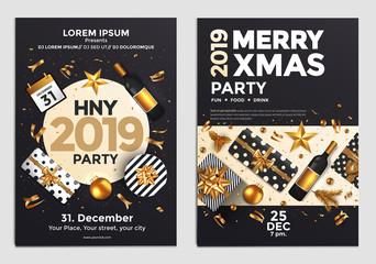 Christmas Party Flyer Design- golden design 2019 3