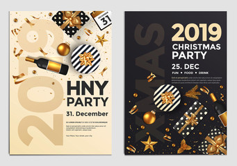 Christmas Party Flyer Design- golden design 2019 4