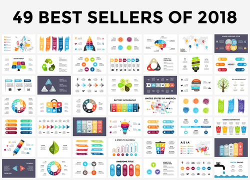 Best infographic templates of 2018. Presentation slides set. Circle diagrams, timelines, light bulb, puzzle brain head, brush stroke banners. Medicine, education, ecology, business infographics.