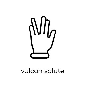 Vulcan salute icon. Trendy modern flat linear vector Vulcan salute icon on white background from thin line Hands and guestures collection