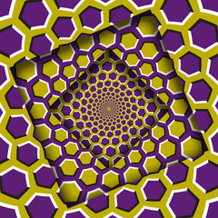 Abstract shifted frames with a moving yellow purple hexagons pattern. Optical illusion background.