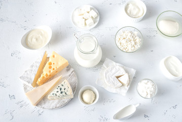Photo sur Toile Produit laitier Assortment of dairy products