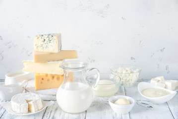 Foto op Canvas Zuivelproducten Assortment of dairy products