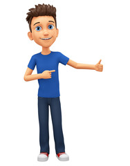 Character cartoon guy in blue t-shirt points to the thumb. 3d rendering. Illustration for advertising.