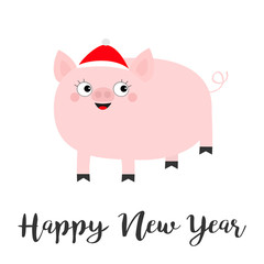 Pig piglet in Santa red hat. Happy New Year. Cute cartoon funny baby character. Hog swine sow animal. Chinise symbol of 2019 new year. Zodiac sign. Flat design. White background. Isolated.