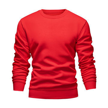 Men's blank mockup red sweatshirt wavy concept with long sleeves isolated white background. Front view empty template pullover. Blank design warm winter clothes sweater for print