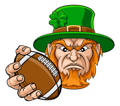 A leprechaun American football sports mascot holding a ball
