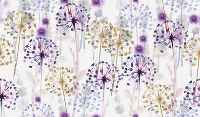 Seamless Watercolor wild floral pattern in hand painting style , delicate flower wallpaper