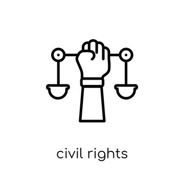 civil rights icon. Trendy modern flat linear vector civil rights icon on white background from thin line law and justice collection