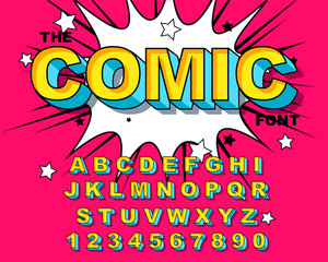 Comic Alphabet. Retro pink. Letters, numbers for kids illustrations,