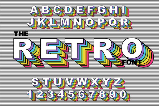 80 s retro alphabet font. Rainbow Vintage Alphabet vector 80 s, 90 s Old style graphic poster