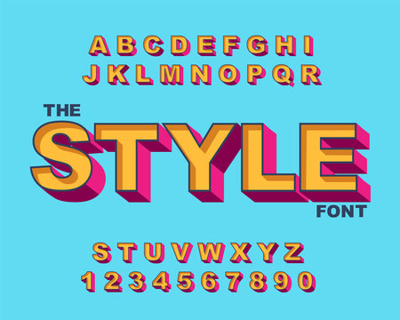 3d Bold retro font. Vintage Alphabet vector 80 s, 90 s Old style graphic poster