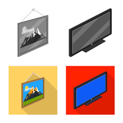 Vector illustration of bedroom and room icon. Set of bedroom and furniture stock symbol for web.
