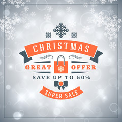 Christmas sale poster design. Holiday shopping. Discount offer. Vintage badge with winter background