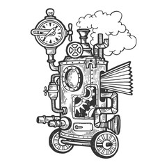 Fantastic steam punk machine engraving vector illustration. Scratch board style imitation. Black and white hand drawn image.