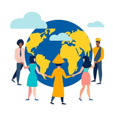 People circle dance around the Earth. Flat style. Cartoon vector illustration