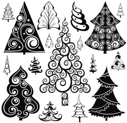 Christmas Tree silhouette icons set